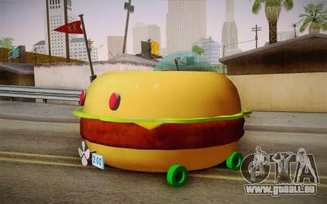 Spongebobs Burger Mobile pour GTA San Andreas laissé vue