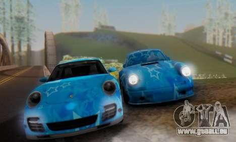 Porsche 911 Turbo Blue Star für GTA San Andreas rechten Ansicht