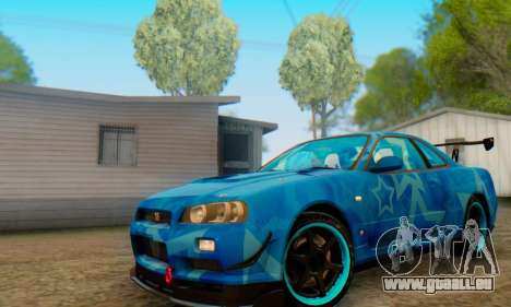Nissan Skyline GTR 34 Blue Star pour GTA San Andreas laissé vue