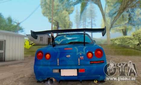 Nissan Skyline GTR 34 Blue Star pour GTA San Andreas sur la vue arrière gauche