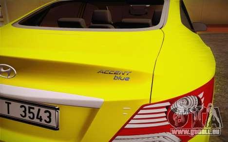 Hyundai Accent Taxi 2013 pour GTA San Andreas vue de droite