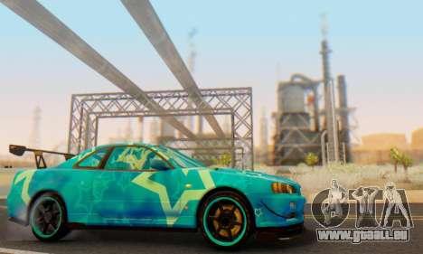 Nissan Skyline GTR 34 Blue Star pour GTA San Andreas vue de côté