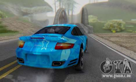 Porsche 911 Turbo Blue Star für GTA San Andreas zurück linke Ansicht
