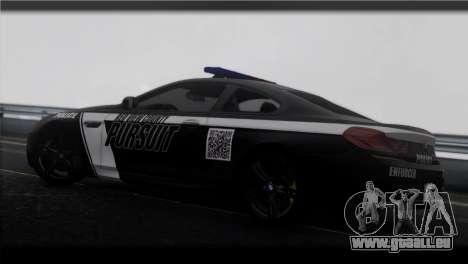 BMW M6 Coupe Redview Police pour GTA San Andreas laissé vue