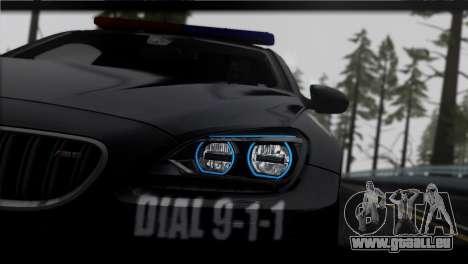 BMW M6 Coupe Redview Police pour GTA San Andreas sur la vue arrière gauche