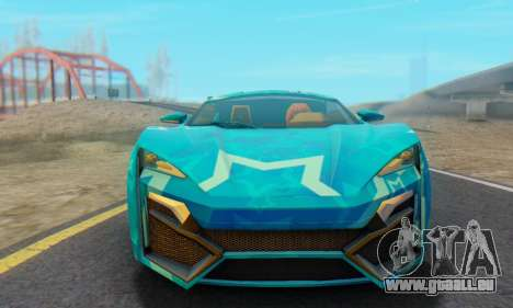 W-Motors Lykan Hypersport 2013 Blue Star für GTA San Andreas zurück linke Ansicht