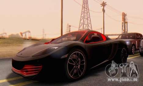 Mclaren MP4-12C Spider Sonic Blum für GTA San Andreas Innenansicht
