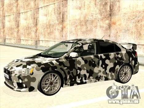 Mitsubishi Lancer Evolution X pour GTA San Andreas moteur