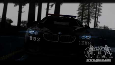 BMW M6 Coupe Redview Police für GTA San Andreas Rückansicht