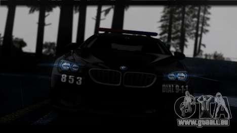 BMW M6 Coupe Redview Police pour GTA San Andreas vue arrière
