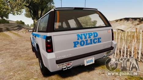 GTA V Declasse Granger NYPD für GTA 4 hinten links Ansicht