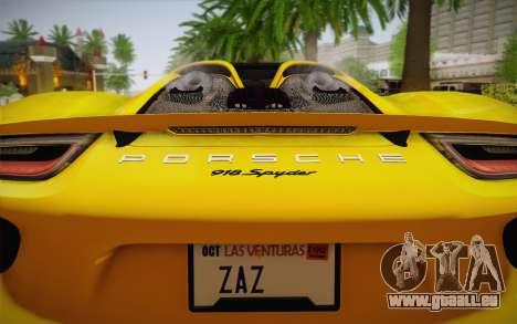 Porsche 918 2013 pour GTA San Andreas vue arrière