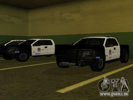 LAPD Ford F-150 Raptor pour GTA San Andreas sur la vue arrière gauche