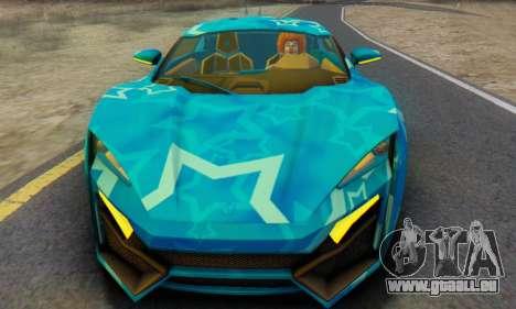 W-Motors Lykan Hypersport 2013 Blue Star pour GTA San Andreas laissé vue