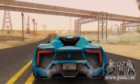 W-Motors Lykan Hypersport 2013 Blue Star für GTA San Andreas Rückansicht