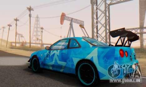 Nissan Skyline GTR 34 Blue Star pour GTA San Andreas vue de dessous