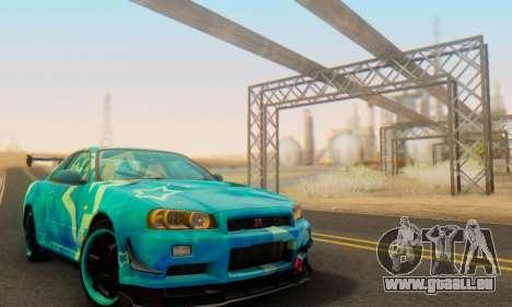 Nissan Skyline GTR 34 Blue Star pour GTA San Andreas vue intérieure