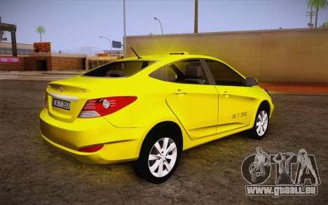 Hyundai Accent Taxi 2013 pour GTA San Andreas laissé vue