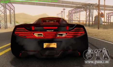 Mclaren MP4-12C Spider Sonic Blum pour GTA San Andreas vue de droite
