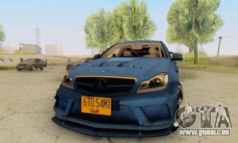 Mercedes Benz C63 AMG 2012 pour GTA San Andreas laissé vue