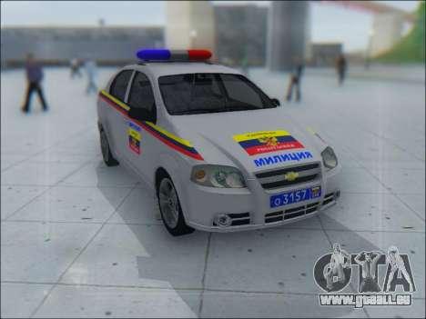 Chevrolet Aveo Милиция OHP für GTA San Andreas Innen