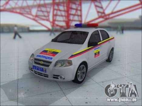 Chevrolet Aveo Милиция OHP für GTA San Andreas obere Ansicht