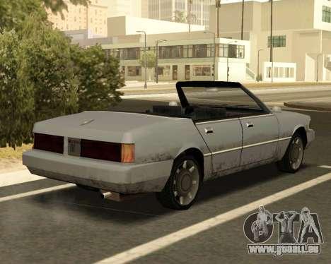 Sentinel Cabrio für GTA San Andreas zurück linke Ansicht