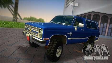 Chevrolet Blazer K5 Silverado 1986 für GTA Vice City zurück linke Ansicht