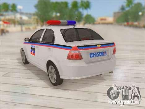 Chevrolet Aveo Police MDN pour GTA San Andreas sur la vue arrière gauche
