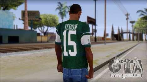 New York Jets 15 Tebow Green T-Shirt pour GTA San Andreas deuxième écran
