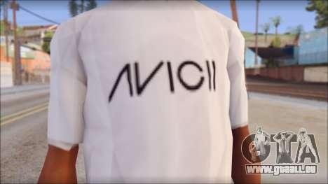 Avicii Fan T-Shirt pour GTA San Andreas troisième écran