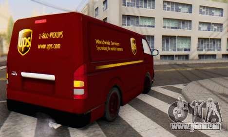 Toyota Hiace UPS Cargo Van 2006 für GTA San Andreas zurück linke Ansicht