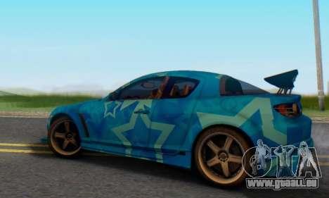 Mazda RX-8 VeilSide Blue Star pour GTA San Andreas sur la vue arrière gauche