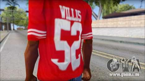San Francisco 69ers 52 Willis Red T-Shirt pour GTA San Andreas troisième écran