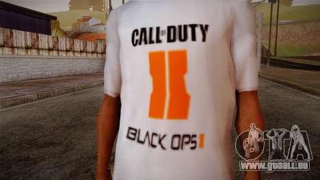COD Black Ops II White Fan T-Shirt für GTA San Andreas dritten Screenshot