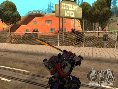 Optimus Sword pour GTA San Andreas huitième écran