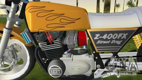 Kawasaki Z400FX Street Drag Racer pour GTA Vice City sur la vue arrière gauche