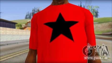 Vidick from Infected Rain Red T-Shirt pour GTA San Andreas troisième écran