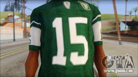 New York Jets 15 Tebow Green T-Shirt pour GTA San Andreas troisième écran