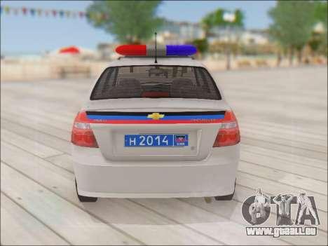 Chevrolet Aveo Polizei DND für GTA San Andreas rechten Ansicht