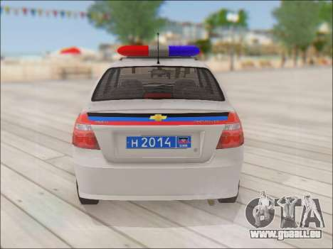 Chevrolet Aveo Police MDN pour GTA San Andreas vue de droite