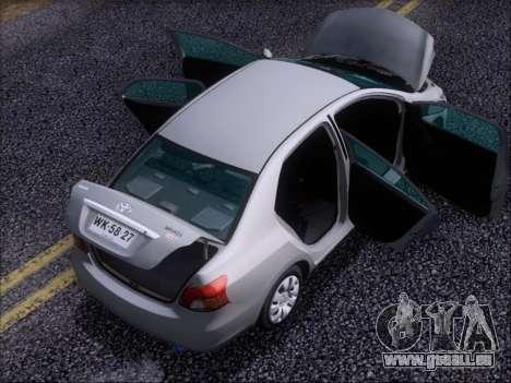 Toyota Yaris 2008 Sedan pour GTA San Andreas vue de dessous