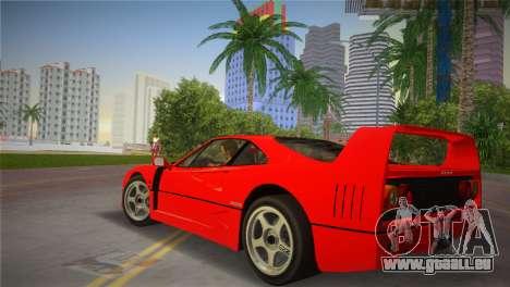 Ferrari F40 pour une vue GTA Vice City de la gauche