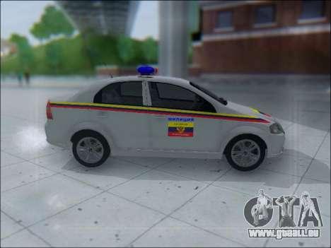 Chevrolet Aveo Милиция OHP für GTA San Andreas zurück linke Ansicht