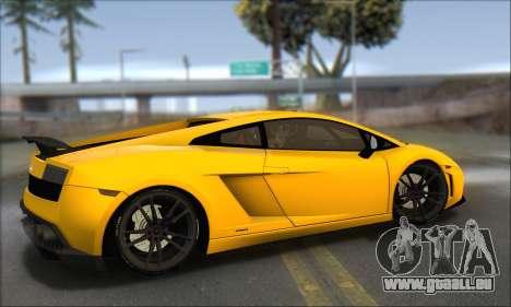 Lamborghini Gallardo LP570 Superleggera für GTA San Andreas zurück linke Ansicht