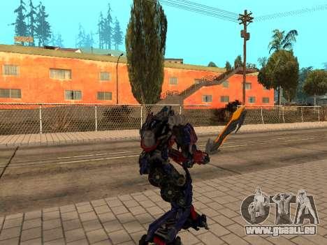 Optimus Sword pour GTA San Andreas troisième écran
