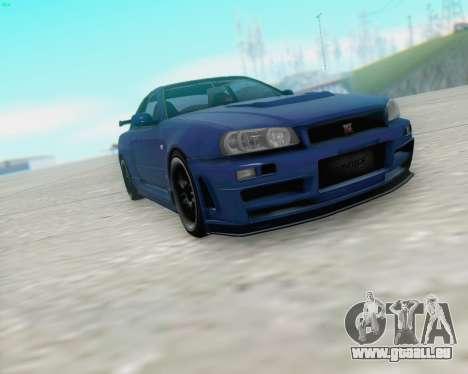 Nissan Skyline R34 Fast and Furious 4 für GTA San Andreas linke Ansicht