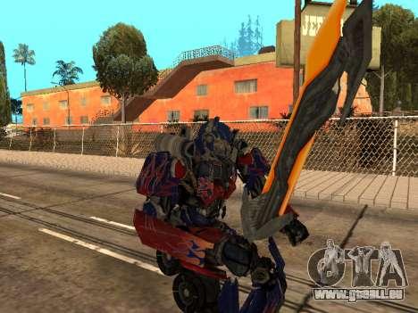 Optimus Sword pour GTA San Andreas neuvième écran