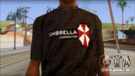 Umbrella Corporation Black T-Shirt pour GTA San Andreas troisième écran