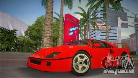Ferrari F40 pour GTA Vice City sur la vue arrière gauche
